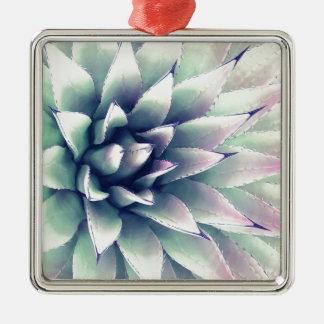 Agaven-Pflanze Quadratisches Silberfarbenes Ornament