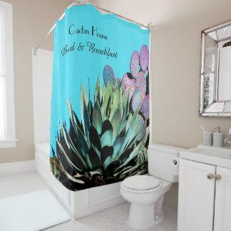 Agaven-und Kaktusfeige-Kaktus auf Türkis-Wand Duschvorhang