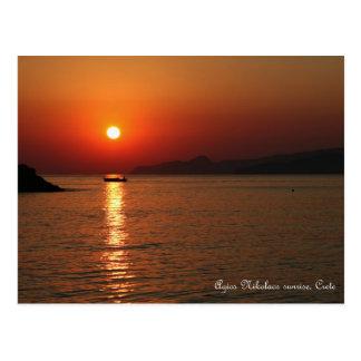 Agios Nikolaos-Sonnenaufgang, Kreta Postkarte