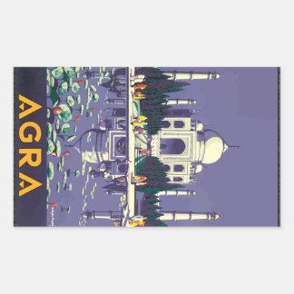 Agra, Vintag Rechteckiger Aufkleber