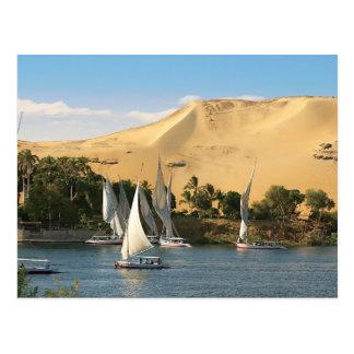 Ägypten, Assuan, der Nil, Felucca Segelboote, 2 Postkarte