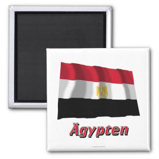 Ägypten Fliegende Flagge MIT deutschem Namen Quadratischer Magnet