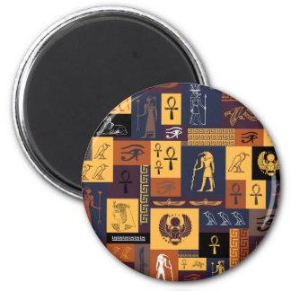 Ägyptische Collage Runder Magnet 5,7 Cm