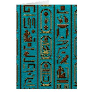 Ägyptische goldene lederne Hieroglyphen auf Karte