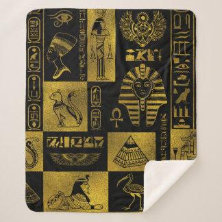 Ägyptische Goldhieroglyphen- und -symbolcollage Sherpadecke