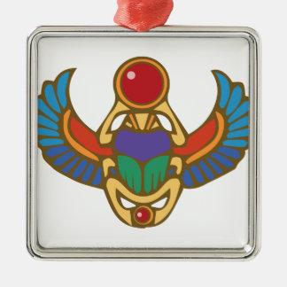 Ägyptischer Scarabäus Quadratisches Silberfarbenes Ornament