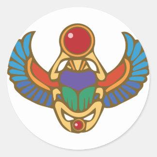 Ägyptischer Scarabäus Runder Aufkleber