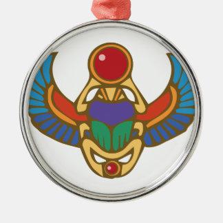 Ägyptischer Scarabäus Rundes Silberfarbenes Ornament