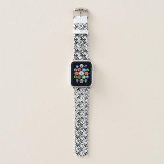 Ägyptisches Fliesenmuster, Schwarzweiss Apple Watch Armband
