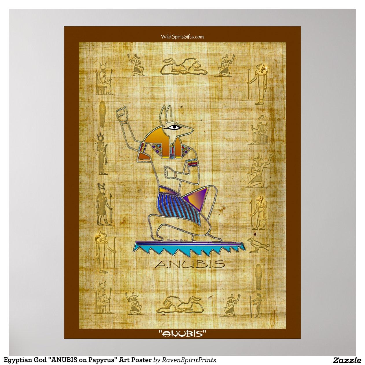 gyptisches gott anubis auf papyrus kunst plakat poster zazzle. Black Bedroom Furniture Sets. Home Design Ideas