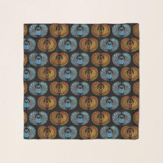Ägyptisches Scarabäus-Käfer-Muster - Goldblaues Schal