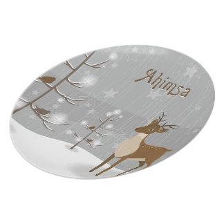 Ahimsa Feiertags-Ren Flache Teller