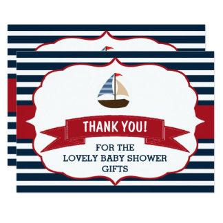 Ahoi ist es ein Junge! Seeboots-Babyparty-Dank Karte