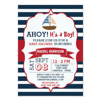 Ahoi ist es ein Junge! Seeboots-Babyparty lädt ein 12,7 X 17,8 Cm Einladungskarte
