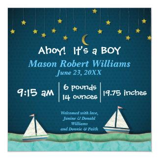 Ahoi, ist es ein JUNGEN-Boot u. spielt - Quadratische 13,3 Cm Einladungskarte