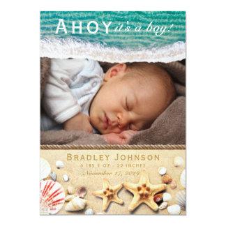 Ahoi ist es eine Jungen-Baby-Geburts-Mitteilung 12,7 X 17,8 Cm Einladungskarte