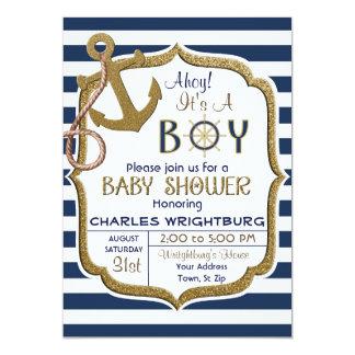 Ahoi ist es eine Jungen-Seethema-Baby-Einladung Karte