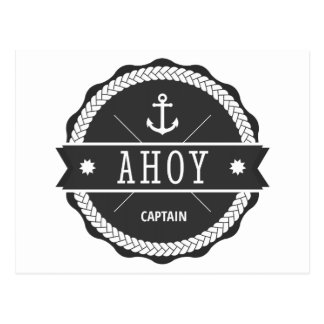 AHOI Kapitän Badge mit Anker Postkarte