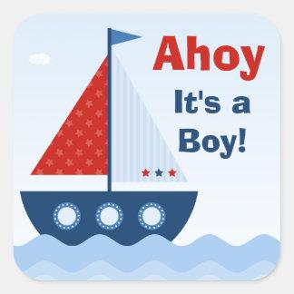 Ahoi sein ein Jungen-Babyparty-Aufkleber Quadratischer Aufkleber