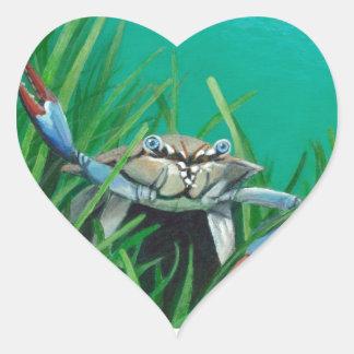 Ahoi treffen die Unterwasser-Seekrabbe Herz-Aufkleber