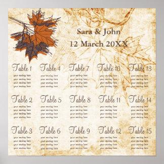 Ahorn-Blätter, fällt rustikales Hochzeit Poster