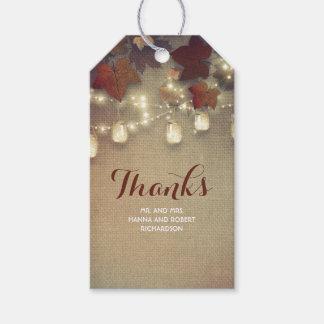 Ahorn-Blätter-und Maurer-Glas-Hochzeit im Herbst Geschenkanhänger