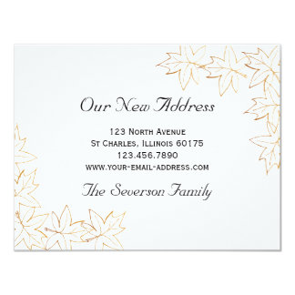 Ahorn verlässt neue Adressen-Mitteilung 10,8 X 14 Cm Einladungskarte