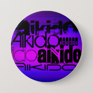 Aikido; Vibrierendes violettes Blaues und Runder Button 7,6 Cm