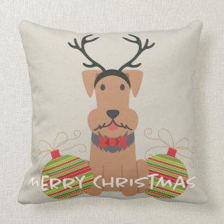 Airedale-Ren-frohe Weihnachten Kissen