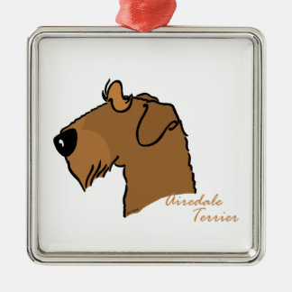 Airedale Terrier Kopf Silhouette Silbernes Ornament