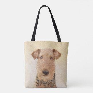 Airedale-Terrier-Malerei - niedliche ursprüngliche Tasche