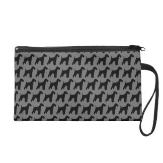 Airedale-Terrier-Silhouette-Muster Wristlet Handtasche
