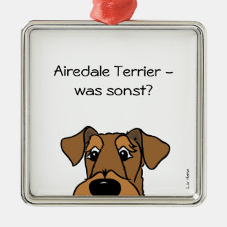 Airedale Terrier - was sonst? Silbernes Ornament