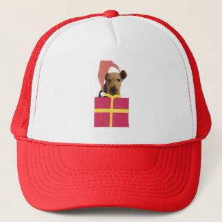 Airedale-Terrier-Weihnachtsmannmütze-Geschenkboxen Truckerkappe