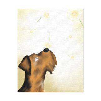 Airedale und Gänseblümchen-ursprünglicher Leinwanddruck