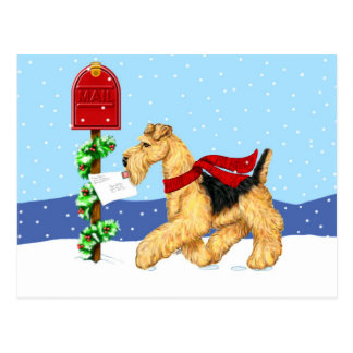 Airedale-WeihnachtsTal-Post Postkarte