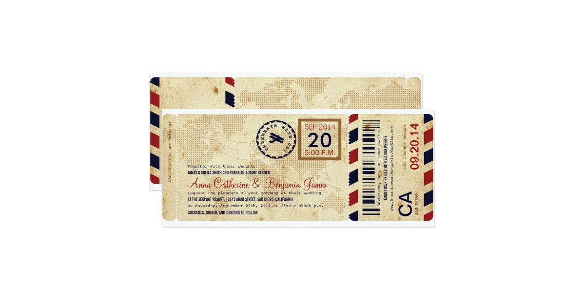 airline boarding pass ticket wedding invitation 10 2 x 23 5 cm einladungskarte zazzle. Black Bedroom Furniture Sets. Home Design Ideas