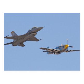 airshow f-16 u. p-51 postkarte
