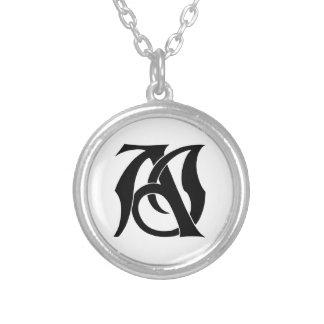 AJ Monogramm Halskette Mit Rundem Anhänger