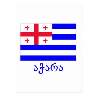 Ajaria Flagge mit Namen in georgischem Postkarte