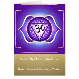 Ajna (Āgyā) oder drittes Auge Chakra Gruß-Karte Grußkarte