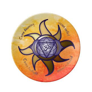 """Ajna Chakra """"drittes Augen-"""" Yoga-Porzellan-Teller Teller"""