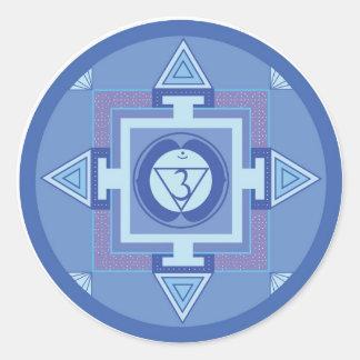 Ajna Chakra Mandala (Third eye chakra) Runder Aufkleber