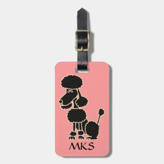 AK-, lustiger schwarzer Pudel-Gepäckanhänger Koffer Anhänger