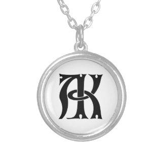 AK Monogramm Halskette Mit Rundem Anhänger