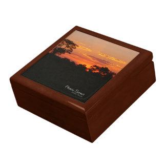 Akazien-Sonnenuntergang Schmuckschachtel