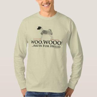 Akita hallo flehen Wooo langen Hülsen-T - Shirt an