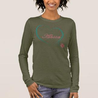 Akita-Liebe-Hundeliebhaber-Text-Herzen Langarm T-Shirt