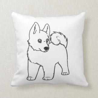 Akita-Weiß-Cartoon Kissen