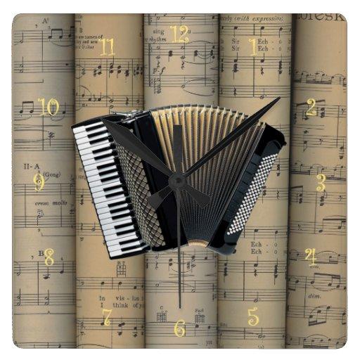 Akkordeon-~ gerollte Notenen-Hintergrund ~ Musik Wanduhr